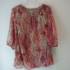 Maggie Barnes for Catherines Blouse Tribal Sz 1X